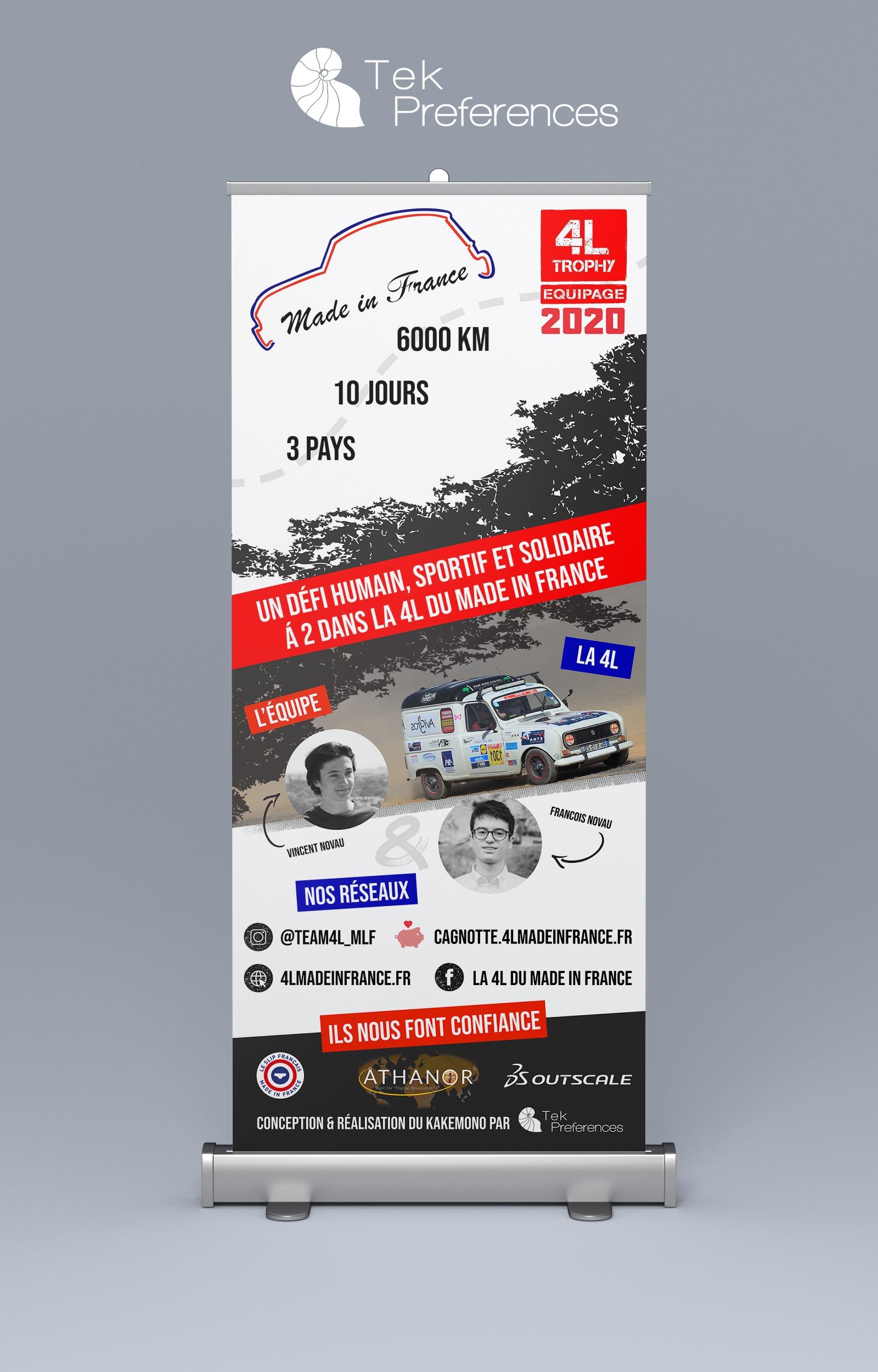 Réalisation design rollup Kakémono communication visuele création site internet Made in France 4L Trophy 2020